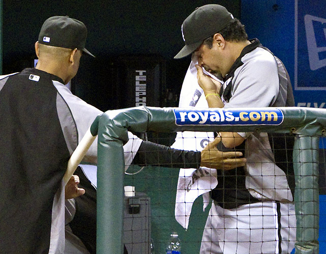 "White Sox manager Ozzie Guillen exploded once again after a 2-1 loss to the Royals in which he called his team's effort ""pathetic.""  ""A lot of people say I talk s--- because I have to talk s---,"" Guillen said. ""No, I don't. I talk s--- because what I see; that's all I see. Very bad. Nothing against (Bruce) Chen. Nothing against the Kansas City pitching staff. They're good. They got a young ballclub. The way we go about our business here, horse s---. They can say whatever they want to say.""  If the defeat wasn't painful enough, Guillen was also hit by a foul ball during the game that left with him a swollen right eye.  ""One day we're good, three days we're bad,"" Guillen said. ""We don't have no energy in the dugout. Horse s--- approach at the plate for the 90th time. If we go to Cleveland the way we go there, huh, good luck. We're wasting our money on this club if we go to Cleveland the way we were here. That's all I have to say."""