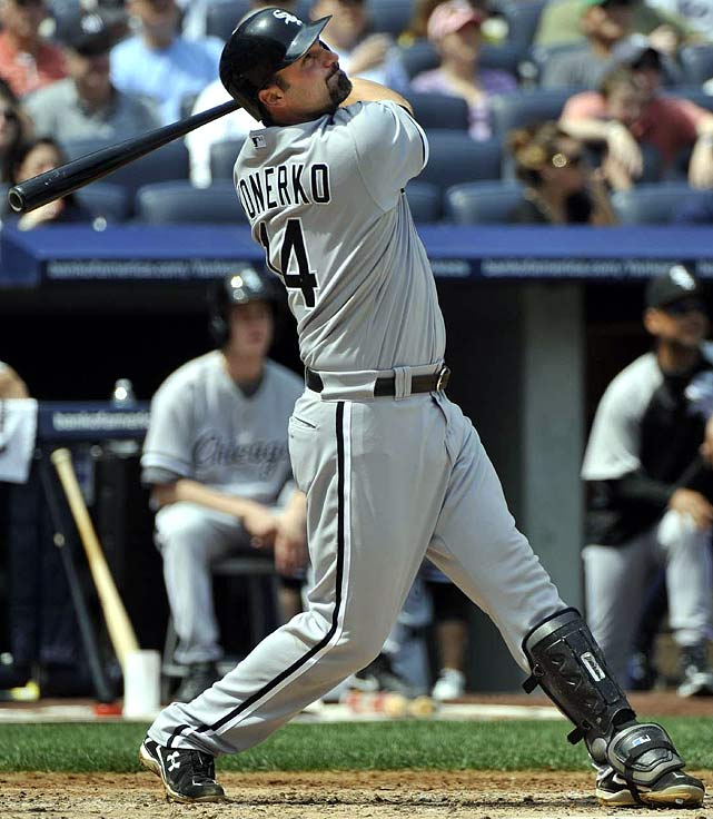 Often overlooked as one of the game's best power hitters, Konerko reached the 40-homer mark in back-to-back seasons in 2004 and 2005. He's already launched 13 bombs through May 12, the most in the majors to date.