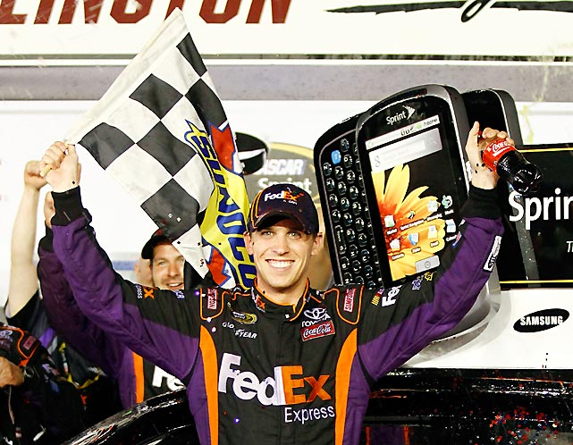 Hamlin won for the third time this season as he won at NASCAR's oldest superspeedway. In sweeping the Nationwide and Cup races, he became the first driver to pull off the feat since Mark Martin in 1993.