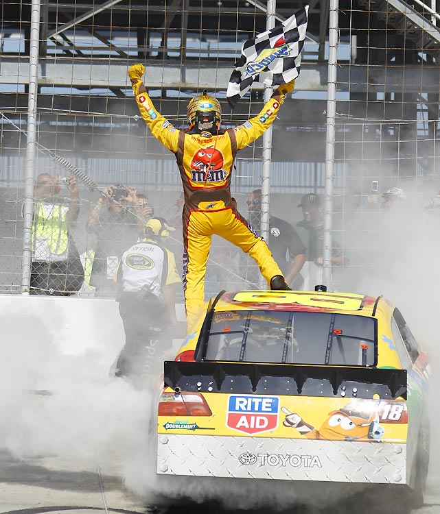 Busch took advantage of Jimmie Johnson's speeding penalty on pit road to give Joe Gibbs Racing its third straight win and the fifth of 2010. Busch became the second driver to win the Cup and Nationwide races in the same weekend, joining Harry Gant (1991).