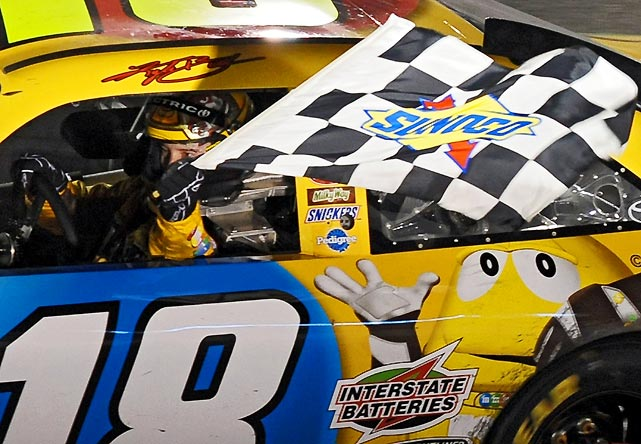 Kyle Busch passed Jeff Gordon on the final restart to snap a 21-race winless skid, Busch's longest since he joined Joe Gibbs Racing in 2008. It was Busch's first win under crew chief Dave Rogers.