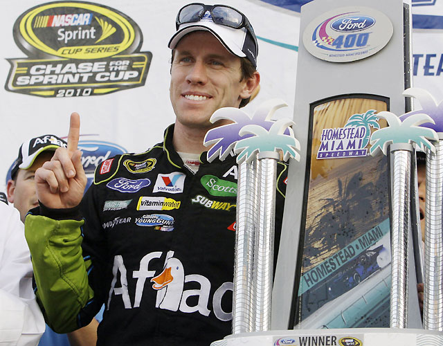 Edwards ended the season with consecutive victories, the first time he's won two straight races since Michigan and Bristol in 2008. He finished the year fourth in the points standings behind Jimmie Johnson, Denny Hamlin and Kevin Harvick.