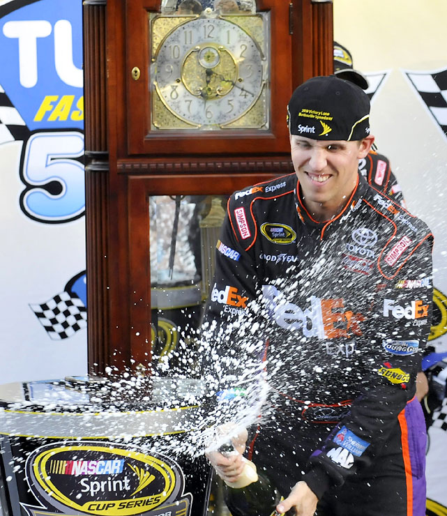 Hamlin passed Kevin Harvick for the lead with 29 laps to go to for his third straight win at NASCAR's oldest track and the fourth overall. With the win, Hamlin cut Jimmie Johnson's lead in the Chase to six points with five races remaining.