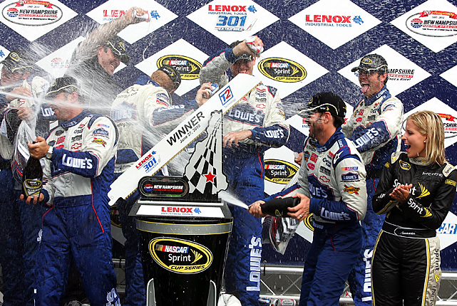 "Kurt Busch tried to bump-and-run past Jimmie Johnson for a win. What he really did was anger the four-time Cup champion. ""I thought, I don't care if I win this race or not,"" Johnson said. ""I'm running into him and get by him one way or another."" Johnson paid back Busch with a poke of his own in the final stretch to surge ahead with two laps left and win the Sprint Cup race at New Hampshire Motor Speedway on Sunday for his fifth victory of the season."