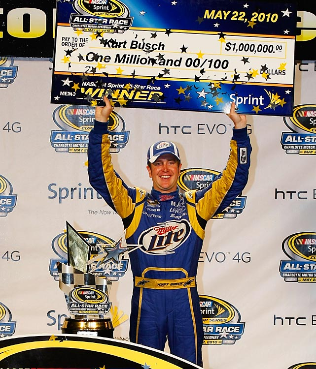Kurt Busch went from 11th to first during the final 10-lap segment to win the All-Star Race and the $1 million payday. But like Busch's previous win in Atlanta, it was overshadowed as Denny Hamlin put teammate, and Kurt's brother Kyle, into the wall and caused damage that ended the No. 18's day.