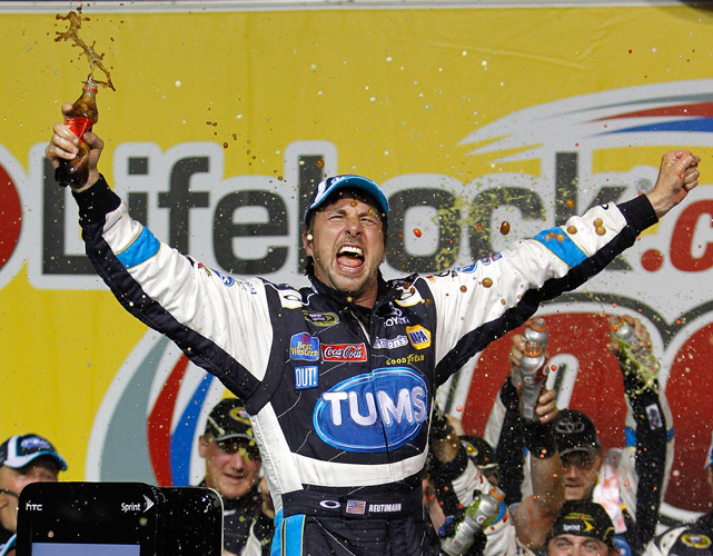 In one of the Sprint Cup's biggest upsets of the year, David Reutimann took the checkered flag at Chicagoland Speedway and won only the second race of his NASCAR career. In doing so, Reutimann beat out a host of NASCAR stars, including Carl Edwards (2nd) and Jeff Gordon (3rd). The victory was a career validation for Reutimann, whose only previous win came back in 2009 during the rain-shortened Coca-Cola 600 in Charlotte.