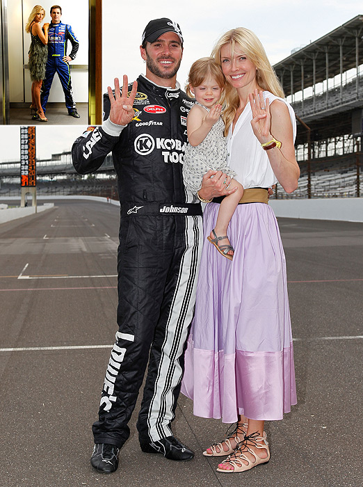 Jimmie Johnson has been married to wife Chandra since 2004, and in 2010, she gave birth to their daughter, Genevieve. The couple posed for  Sports Illustrated  in 2008 (top left corner), just before he won his third consecutive Sprint Cup championship.