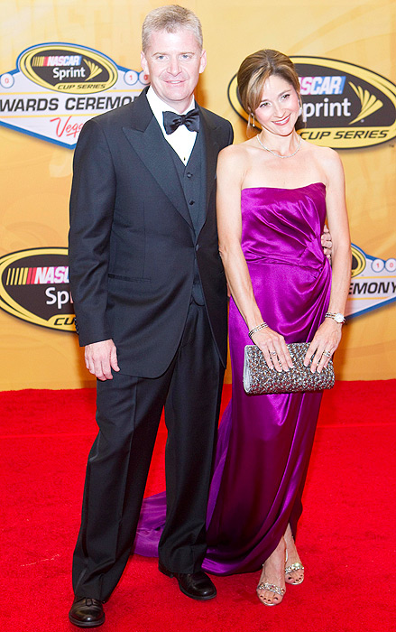 Jeff and Kim Burton hit the red carpet at the NASCAR Sprint Cup Series Auto Racing awards ceremony in Las Vegas.