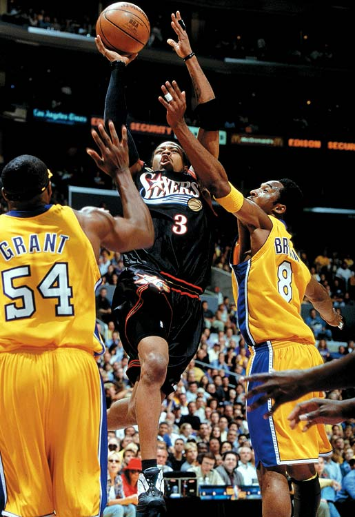 The Answer's only trip out of the second round came in his MVP season, in 2001, when he closed within three wins of a title after guiding the underdog 76ers to a Game 1 victory against the host Lakers in the Finals. The Lakers, however, rebounded to win the next four games. After that, the four-time scoring champ jumped from Philadelphia to Denver to Detroit to Memphis and back to Philadelphia again. He played with a Turkish team in 2010 after NBA teams passed on signing him as a 35-year-old free agent.