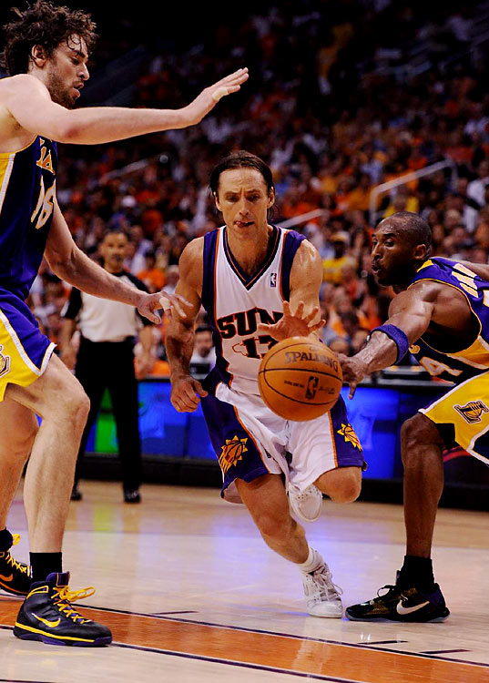 Steve Nash, playing with a broken nose, made just 3-of-11 shots but had 15 points and eight assists.