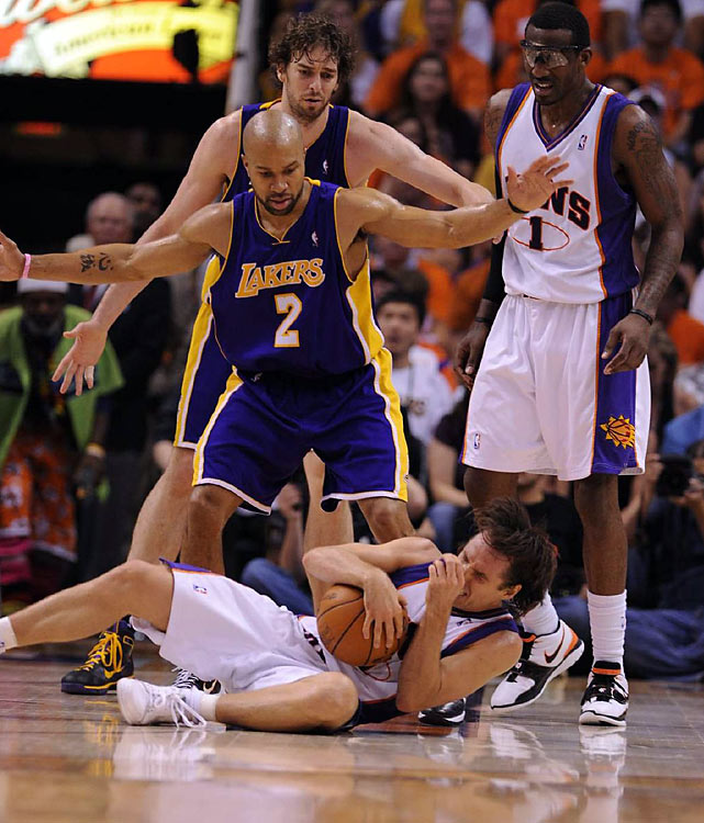 Derek Fisher got Nash squarely in his broken nose in the third quarter, sending the Suns point guard to the floor in pain. He recovered to nail two free throws.