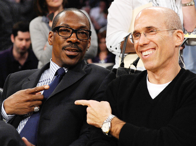 Eddie Murphy and producer Jeffrey Katzenberg pose during Game 5 of the Western Conference quarterfinals in L.A.