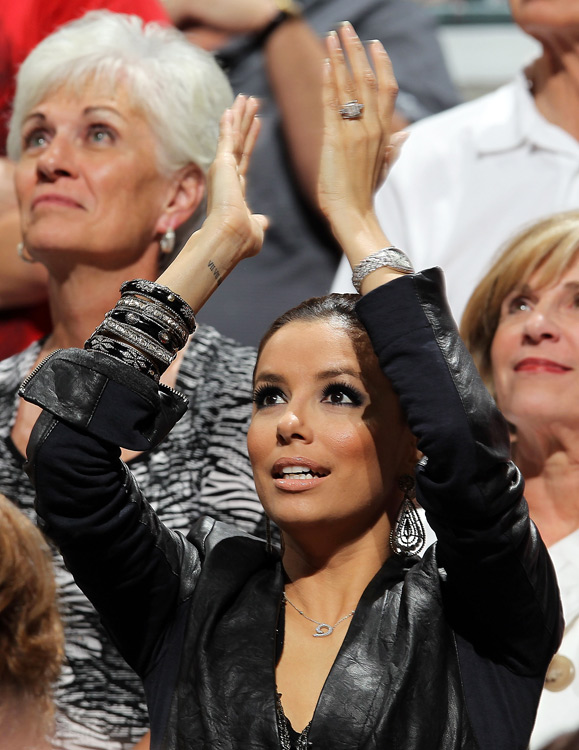 Desperate Housewife Eva Longoria-Parker roots on her hubby during the Spurs' first-round series with the Mavericks.
