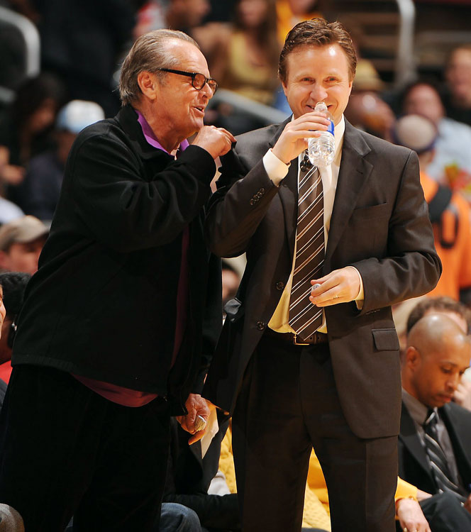 Staples Center regular Jack Nicholson plays mind games with Thunder coach Scott Brooks. That's cheating.