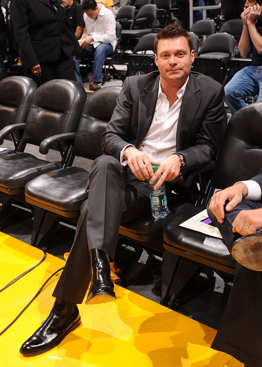 American Idol and E! News host Ryan Seacrest gets comfy at a Lakers game in L.A.
