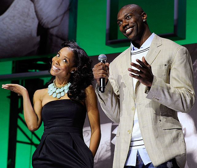At the VH1 Upfronts at Pier 59 Studios, T.O. shared the spotlight with his 'The T.O. Show' co-star Kita Williams.