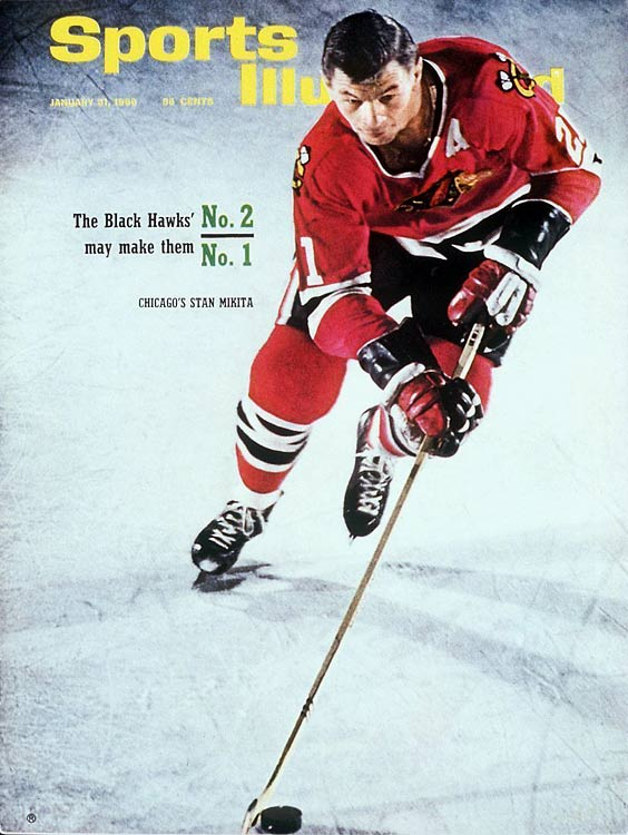 "The first Czechoslovakian-born player in the NHL, Mikita was also the first player in NHL history to win the Art Ross, Hart and Lady Byng trophies in the same season (1966-67), repeating the trifecta the following year. The slick playmaker skated his entire NHL career for the `Hawks, and his number 21 was the first in the team's history to be retired. He centered the first ""Scooter Line"" between Ken Wharram and Ab McDonald and won the Stanley Cup during his second full season with the club (1961). His edginess is reflected in his time spent in the penalty box: more than 100 minutes in four separate seasons, but he changed his style and won the Byng. He was inducted into the Hockey Hall of Fame in 1983."