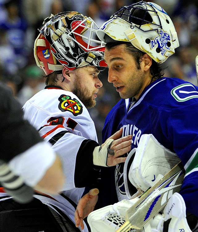 The Blackhawks netminder was in full flower at the end of the 2010 Western Conference semifinals in which he bested Vancouver's Roberto Luongo, who probably lost because he couldn't do better than a five o'clock shadow.