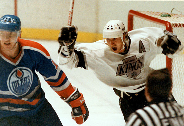 The Oilers paid a bitter price for trading Wayne Gretzky to Los Angeles when the Great One led the Kings back from a three-games-to-one deficit in their first postseason meeting. The Kings stopped Mark Messier's Oilers in the first round with a 4-2 Game 5 win in LA, then wrested home ice advantage with a 4-1 win in Edmonton that knotted the series. Fittingly, Gretzky opened and closed the scoring in LA's 6-3 Game 7 victory. The Oilers never found a way to stop unlikely hero Chris Kontos, who scored eight goals in the series.