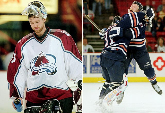 The second-seeded Avs were two seasons removed from the Stanley Cup, but still had Patrick Roy in net as well as Peter Forsberg and Joe Sakic up front. They took a three-games-to-one lead over the seventh-seeded Oilers, whose goalie, Curtis Joseph, looked shaky. But Edmonton's Bill Guerin tied Game 5 in Denver at 1-1, sparking the Oilers to a 3-1 win. Joseph suddenly became airtight, shutting out Colorado 2-0 in Game 6 and 4-0 in Game 7, which was played before a despairing if not disbelieving crowd in Denver.