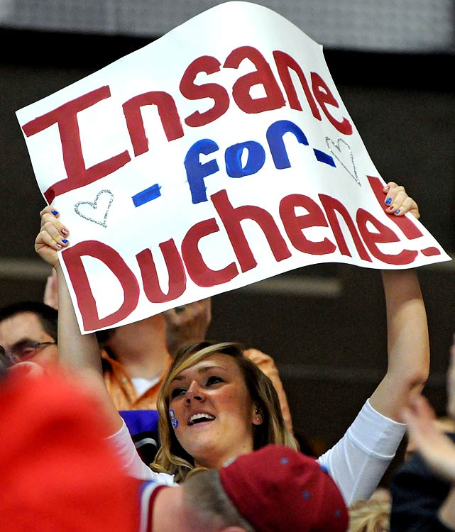 A Colorado Avalanche fan displayed her feelings for the team's rookie sensation, Matt Duchene.