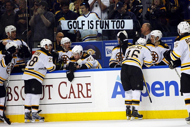 A fan in Buffalo had a helpful suggestion for the Boston Bruins during their first-round series, but alas it was the Sabres who ended up with an early tee time.