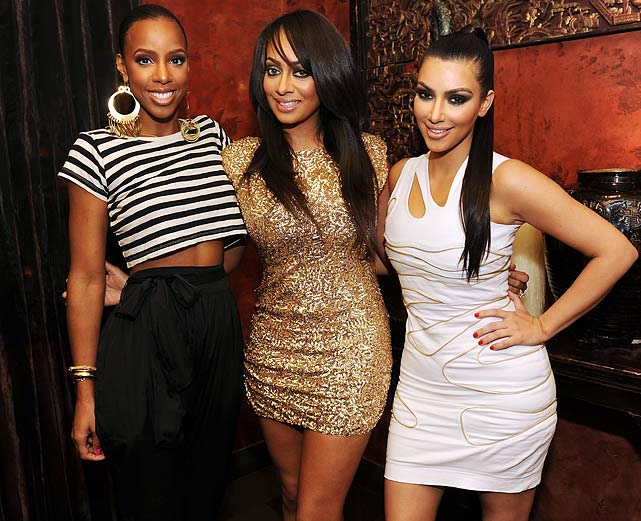 What better place to have a bachelorette party than Vegas? LaLa Vasquez (center), former MTV VJ and future Mrs. Carmelo Anthony, celebrated her impending nuptials with a little trip to Sin City. Joined by Kim Kardashian and Kelly Rowland, the three were seen having dinner at TAO and then making their way to one of the club's skyboxes.