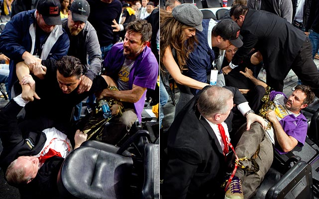 No good deed goes unpunished.  David Arquette can attest to that.  During Game 1 of the Western Conference Finals, a fan tried to storm the court and took down a security guard while doing so.  Arquette, close to the action, tried to wrestle the fan off the guard and fell to the floor in the process.  Luckily, no one involved was hurt and the Lakers won, 128-107.