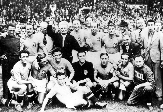 Italy won its second consecutive World Cup behind striker Silvo Piola, who scored twice and set up another goal in a 4-2 victory over Hungary in the final. The tournament included Brazil's epic 6-5 win over Poland in the first round in which Ernest Wilimowski scored four goals in a losing effort and Leonidas countered with a hat trick.