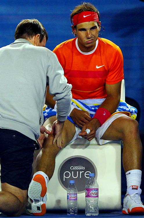 A tennis player's knees are as crucial a body part as there is in sports, especially for the game's elite. On top of that, Rafa is only 23d, which means we might be hearing about the deterioration of his leg joints for a long time.