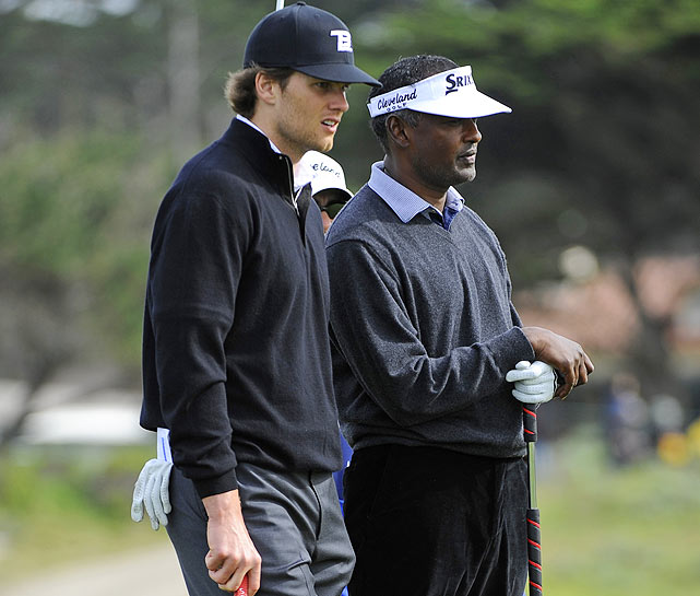 At the AT&T Pebble Beach National Pro-Am, celebrities and athletes are paired with PGA Tour pros, like Vijay Singh (right). Brady's partner was Steve Marino (not pictured). Brady and Marino did not make the cut.