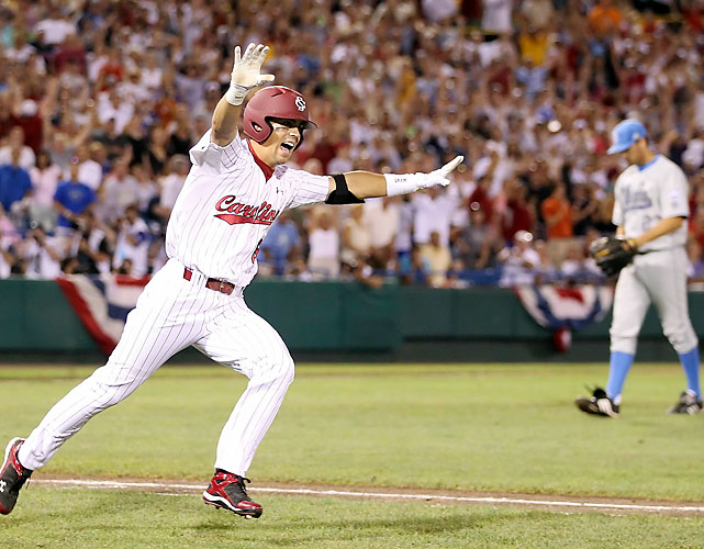 Whit Merrifield hit the championship-winning single off Dan Klein in the 11th inning to give South Carolina its first College World Series title in the final CWS at Rosenblatt Stadium.