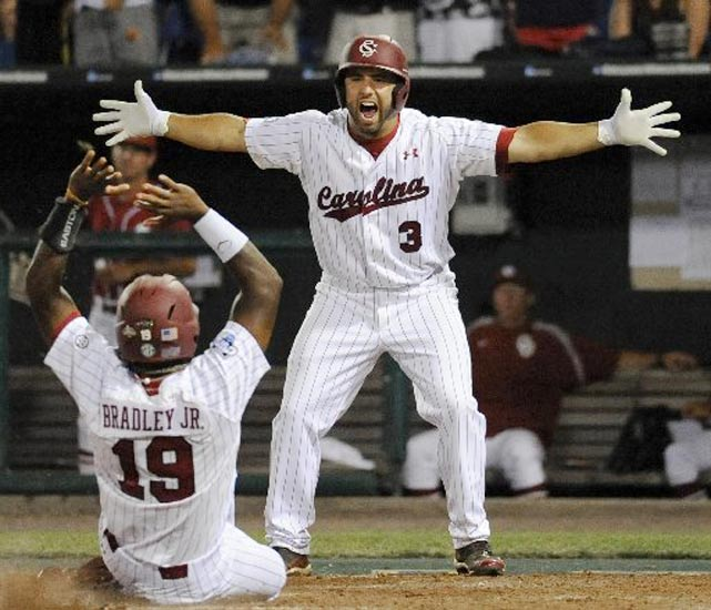 Down to their final strike Thursday night, South Carolina put together a thrilling rally in the bottom of the 12th inning. It started with a full-count, two out single by sophomore Jackie Bradley to bring in the tying run from second. Following a walk, senior Brady Thomas drove the first pitch he saw into centerfield, scoring Bradley and pulling off an incredible come-from-behind victory.