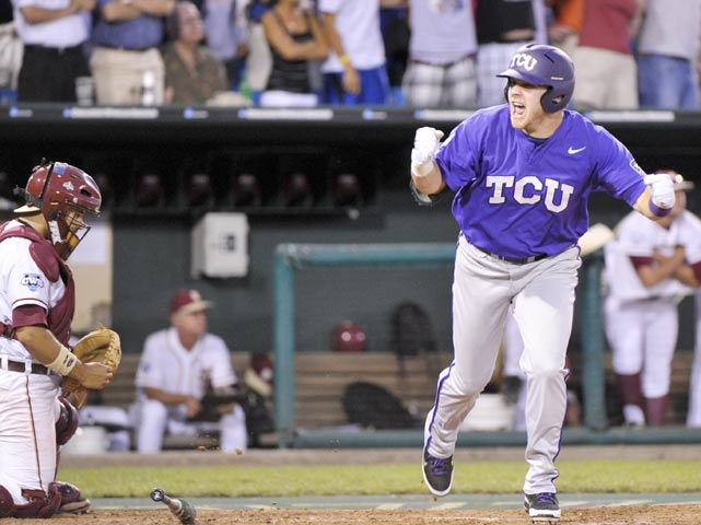 You've heard of rally caps -- how about rally turtles? That's what the Horned Frogs turned to down 7-3 in the eighth inning against Florida State on Wednesday. TCU designated hitter Joe Weik traced a turtle in the dirt in front of the team's dugout and the runs began to pour in, culminating in senior Matt Curry's grand slam that pulled the Horned Frogs ahead. TCU won Game 9 of the College World Series, 11-7, forcing a rematch against UCLA on Friday.