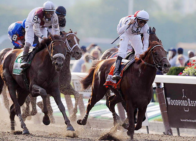 Drosselmeyer, with Mike Smith aboard, rallied to win the Belmont Stakes in 2:31.57.