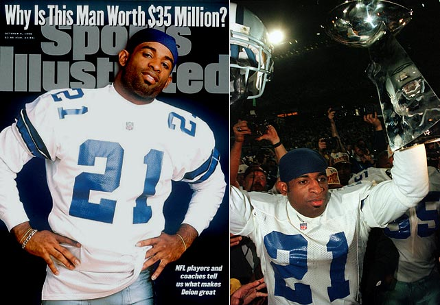 "If there was ever a match made in football heaven, it was Deion Sanders and the Dallas Cowboys. He signed a seven-year, $35 million deal to play offense, defense, and special teams for a flashy Cowboys team led by Troy Aikman, Emmitt Smith and Michael Irvin. ""Neon Deion"" had his name in lights during a run to a Super Bowl XXX victory."