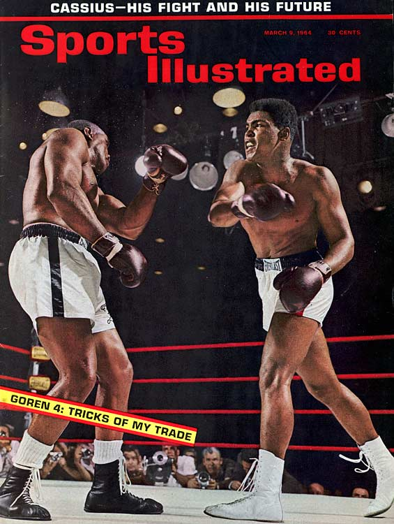 Four years after winning a gold medal in Rome, Clay won the heavyweight title for the first time by overpowering Sonny Liston during a seventh-round TKO in Miami.