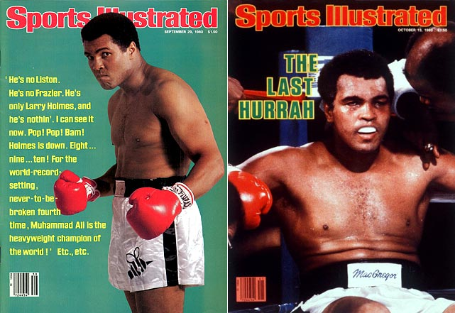 "After a brief retirement, Ali fought again in 1980 at age 38 against Larry Holmes, a bout dubbed ""The Last Hurrah."" Ali was his usual taunting self before the match, even though he was two years removed from his last fight and was noticeably overweight."