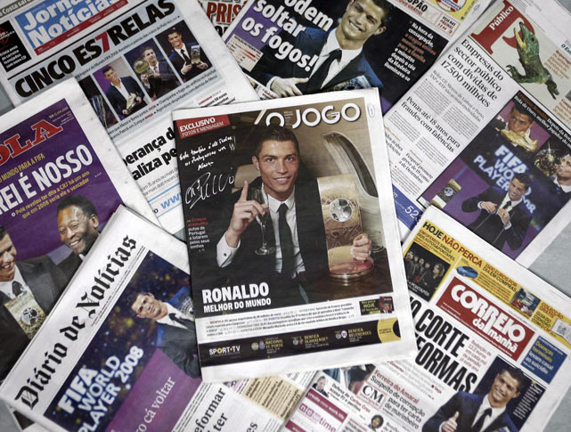 Ronaldo received front page coverage in his native Portugal after being chosen as FIFA's World's Best Player.