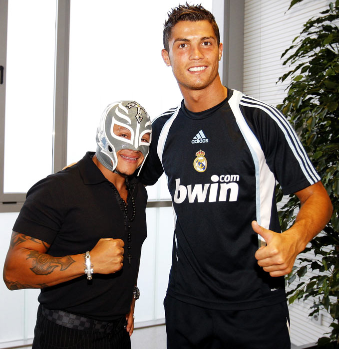 WWE star Rey Mysterio with Ronaldo as they visit Valdebebas in Madrid.
