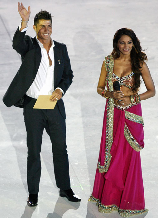 Ronaldo and Bollywood actress Bipasha Basu attend the debut of the New Seven Wonders of the World at Luz stadium in Lisbon.