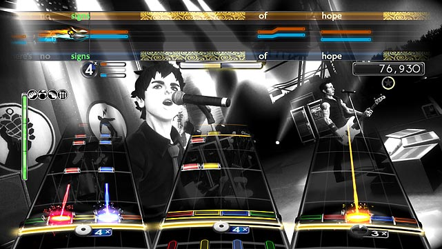 Green Day: Rock Band comfortably occupies the space between a Rock Band track pack and a revolutionary spinoff like last year's The Beatles: Rock Band. The game looks and plays like Rock Band 2 in nearly every way, with the addition of vocal harmonies and motion-captured avatars specific to Green Day. There are 47 songs here, with Dookie and American Idiot present in their entirety, but you'll need to buy six songs separately to complete 21st Century Breakdown, which is a shame -- the game shouldn't ship requiring DLC to complete its song list. That said, most of the songs are well-noted and fun to play and, unlike with the Beatles game, can be exported to fill out your Rock Band 2 track list for an additional $10.  Score: 7/10