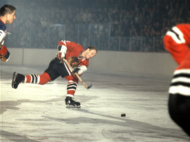 "The top sports moments to happen within the city itself, including neutral-site matchups such as college bowl games, super bowls, NCAA Tournaments, etc.   On March 12, 1966, Blackhawks star Bobby Hull rocketed a 40-foot slapshot past Rangers goalie Cesare Maniago to tie the score at 2. That blast made Hull the first player in NHL history to score more than 50 goals in one season. His 51st on net moved him past Maurice ""Rocket"" Richard and Bernie ""Boom Boom"" Geoffrion. Hull finished the season with 54 goals."