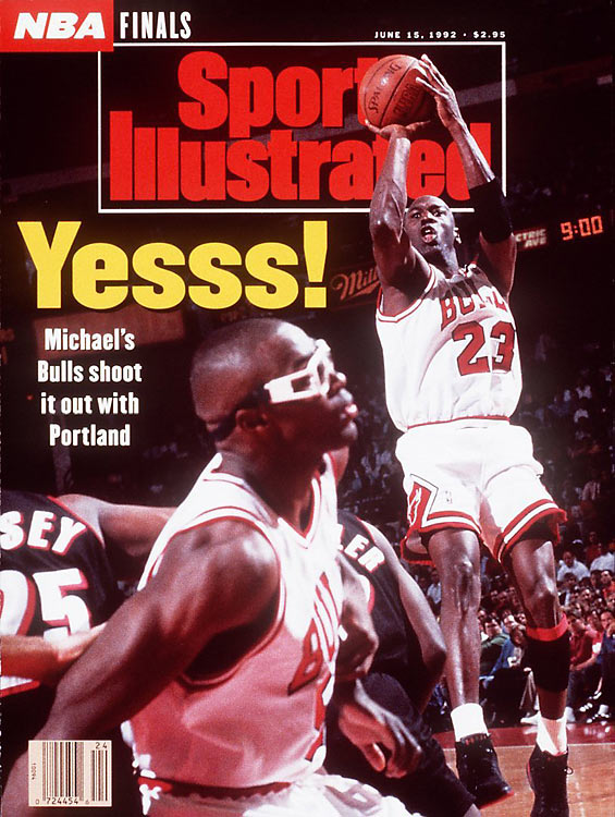 Michael Jordan put on a remarkable show in the first half, scoring an NBA Finals-record 35 points. After his sixth 3-pointer, Jordan jogged back down the court, turned to the broadcast table, and shrugged. With his palms up and a wry grin on his face, even Jordan could only chuckle at the performance for the ages. The Bulls won the game and went on to take the NBA title in six games.