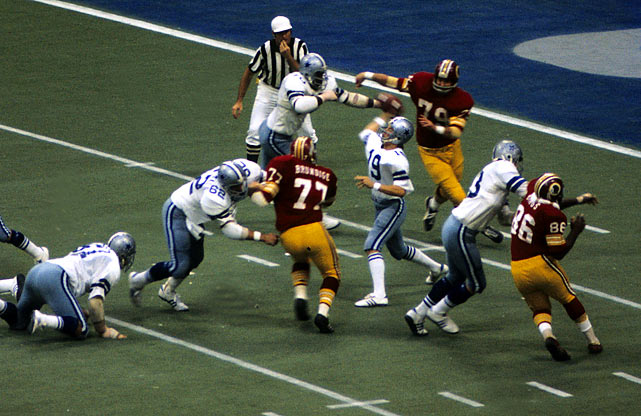 Down 23-17 to the Redskins, rookie quarterback Clint Longley came in for an injured Roger Staubach and threw two touchdown passes, including a game-winning 50-yard pass to Drew Pearson in the final minute.