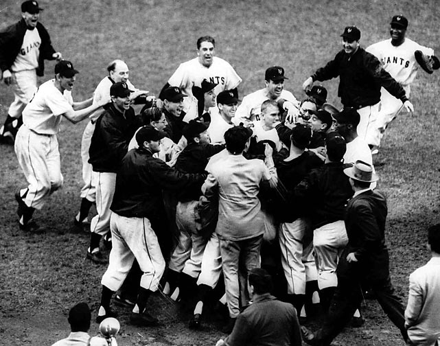 "The top sports moments to happen within the city itself, including neutral-site matchups such as college bowl games, super bowls, NCAA Tournaments, etc.    The 1951 National League pennant was won when New York Giants outfielder Bobby Thomson blasted a walk-off homer against the Brooklyn Dodgers at the Polo Grounds in Upper Manhattan. Thomson's ""Shot Heard Round the World"" was celebrated by U.S. servicemen fighting in the Korean War who listened to the radio broadcast overseas. Each team's radio broadcast featured a legend -- Ernie Harwell for the Giants and Red Barber for the Dodgers."