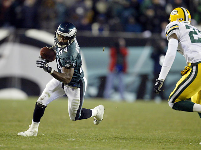 "When Brett Favre and the Green Bay Packers took a 17-14 lead late in the fourth quarter, things looked dim for Eagles fans. But a miracle happened. A sack, a penalty and an incompletion put the Eagles in a 4th-and-26 situation with just 1:12 remaining and no timeouts. With Philly's season hanging in the balance, quarterback Donovan McNabb dropped back and fired a strike to wide receiver Freddie Mitchell down the middle of the field. Mitchell made a leaping grab just ahead of the first-down marker, extending the Eagles' drive, which ended in a field goal to force overtime. The Eagles won in the extra period, prompting ""4th & 26"" to become a trademark phrase in Philly sports history."