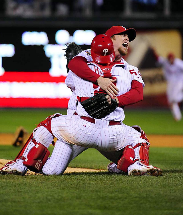 Game 5 of the 2008 World Series lasted three days thanks to a rain delay-turned postponement. When play resumed, the Phillies took a one-run lead into the 9th, and after allowing a man to reach second base, closer Brad Lidge struck out Eric Hinske in the final at-bat of the Series, sealing the Phillies' second world championship. The win was the first major pro championship for the city since the 76ers won the 1983 Finals.