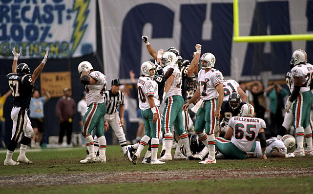 San Diego won the AFC East in 1994 and was the No. 3 seed heading into the postseason. They hosted Miami, led by quarterback Dan Marino, in the Divisional round on Jan. 8, 1995 at Jack Murphy Stadium. The Dolphins took a 21-6 lead at halftime, stunning the Chargers and their fans. But in the second half, San Diego scored 16 unanswered points, and Miami's last-second field goal sailed wide, allowing the Bolts to win 22-21.