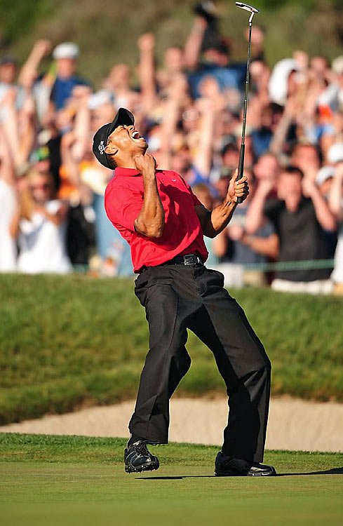 Tiger Woods had major surgery on his left knee in April 2008. By mid-June, he was back on the golf course, albeit in noticeable pain, for the U.S. Open Championship at Torrey Pines. Tiger entered Sunday atop the leaderboard, but lost his one-stroke lead on the first hole of the day. He finished the day tied with 45-year-old underdog Rocco Mediate, forcing an 18-hole playoff the next day. Incredibly, the pair finished the day tied again, sending them to a sudden death playoff, which Woods won with an even par, running his streak of Major wins when leading heading into Sunday to a perfect 14-0.